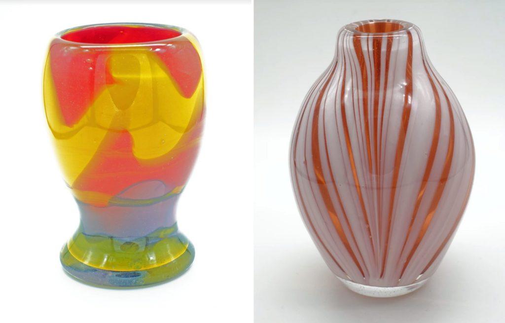 Multicoloured vase and red & white stripe vase